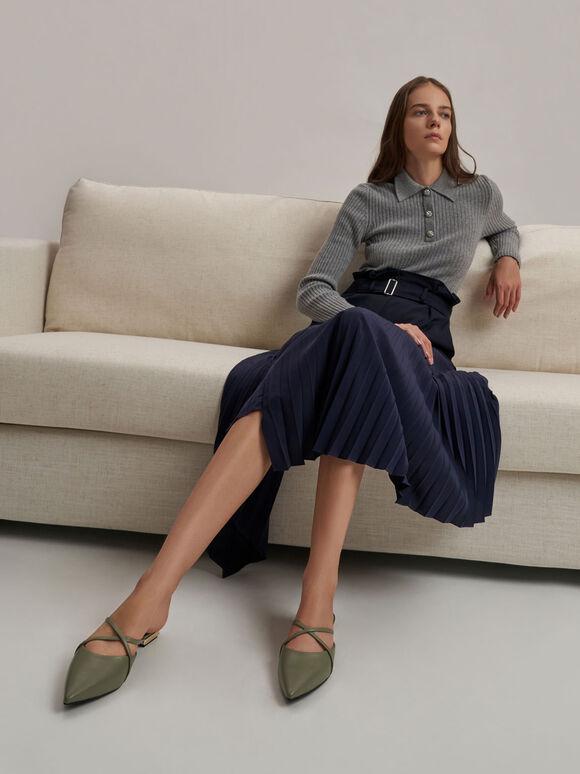 Sepatu Pointed Toe Cross Strap Mules, Olive, hi-res