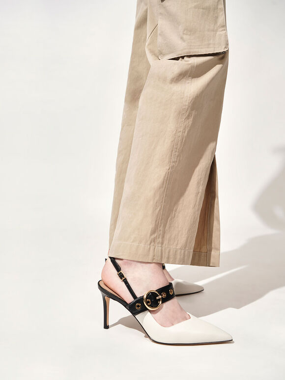 Sepatu Grommet Slingback Pumps, Chalk, hi-res