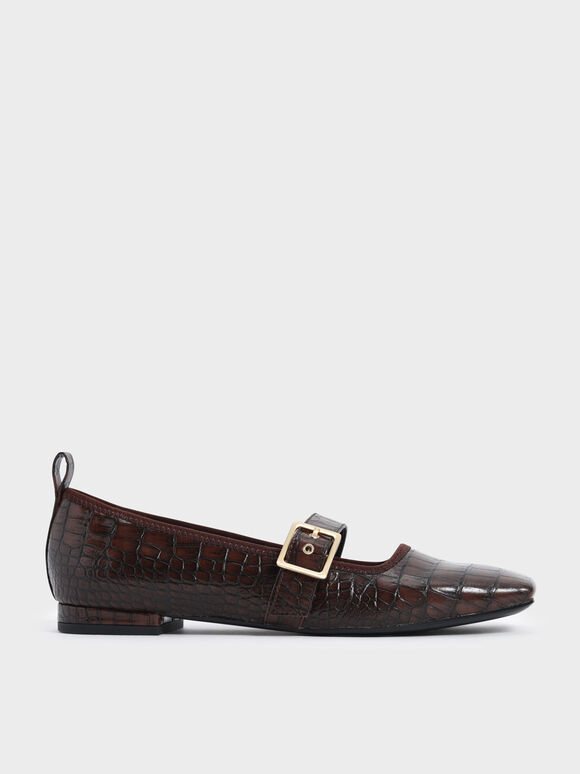 Sepatu Croc-Effect Square Toe Mary Jane Flats, Animal Print Brown, hi-res