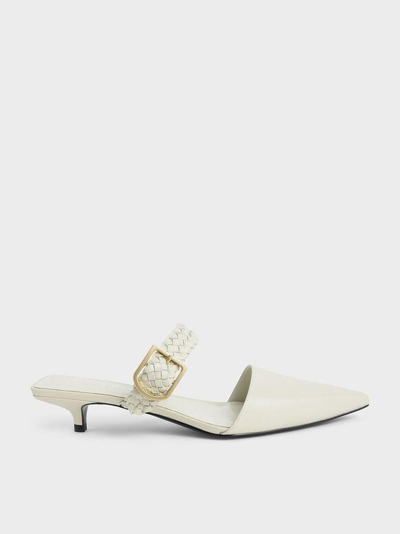 Sepatu Mules Woven Buckle Strap, Chalk, hi-res