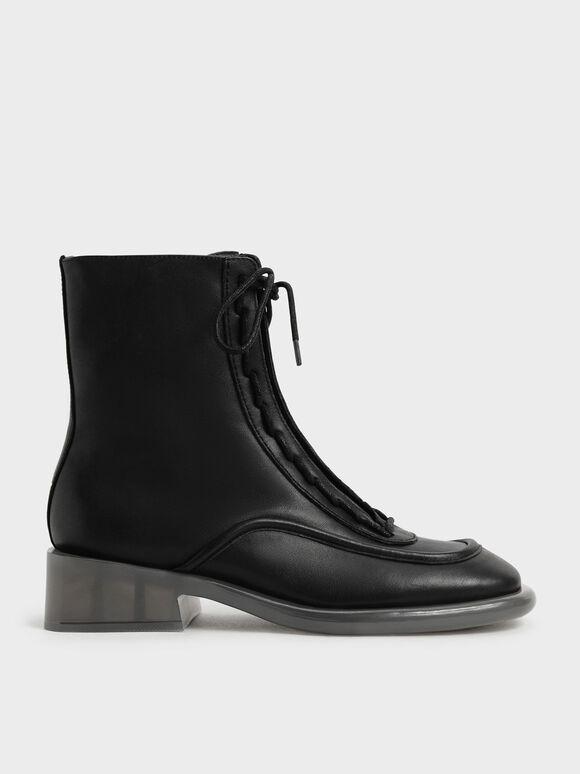 Sepatu Boots Fleur Leather Lace-Up, Black, hi-res