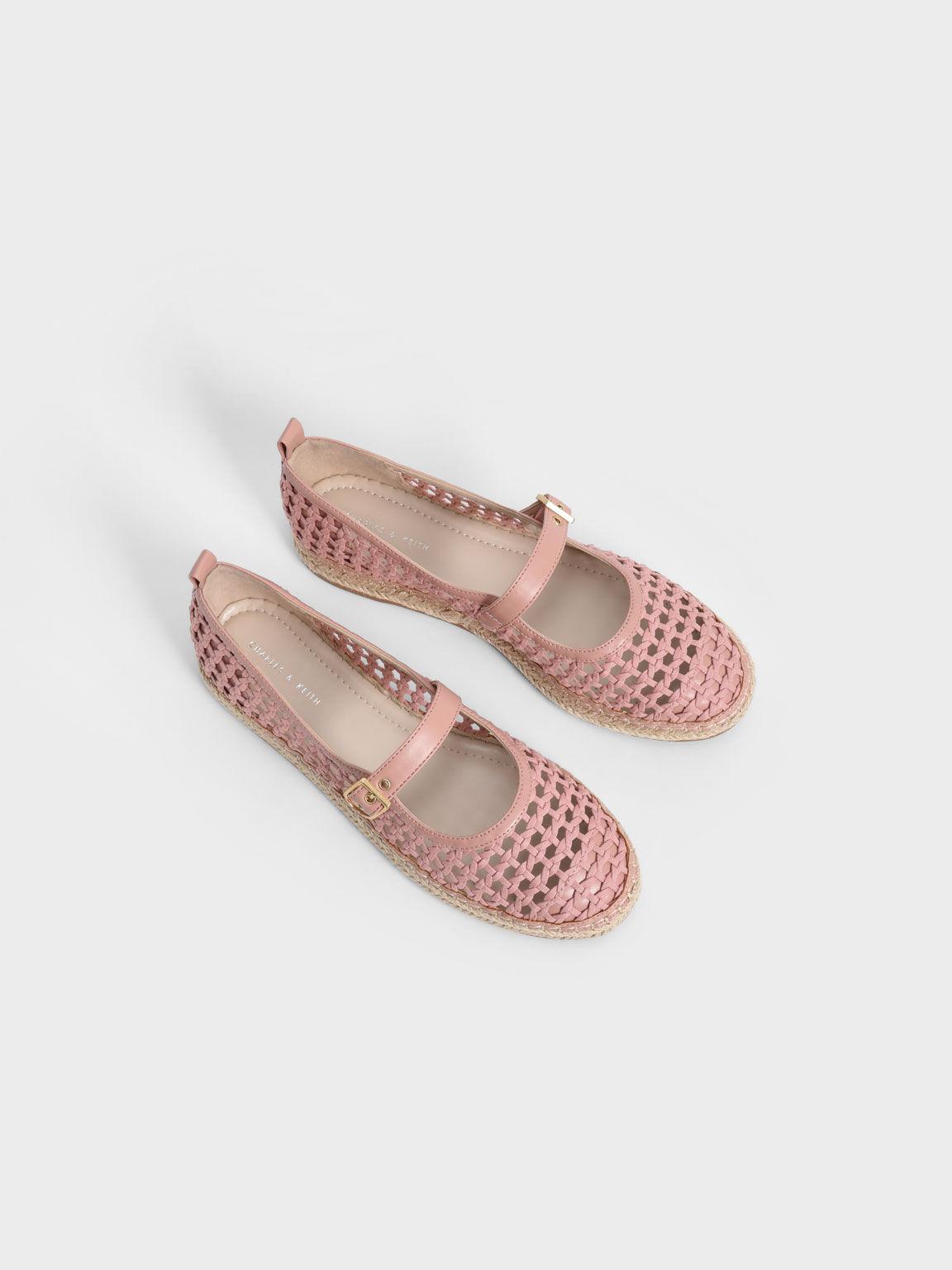Sepatu Front Buckle Woven Canvas Espadrilles, Pink, hi-res
