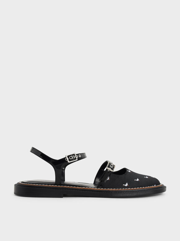Sepatu Jacquard & Patent Printed Mary Jane Flats, Black Textured, hi-res