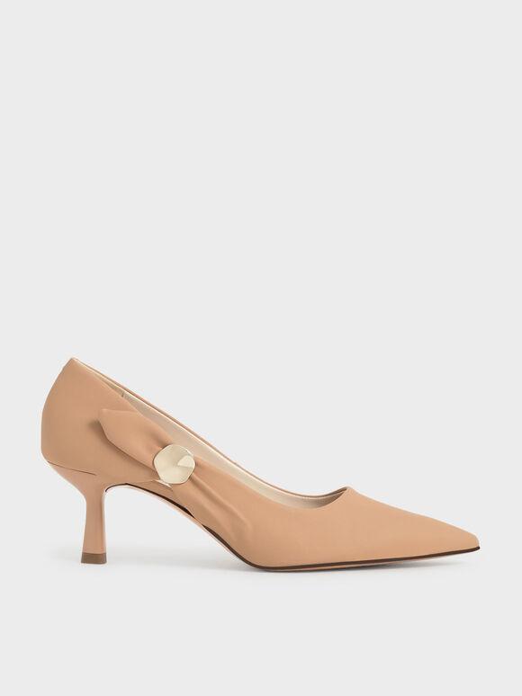 Sepatu Embellished Pointed Toe Pumps, Beige, hi-res