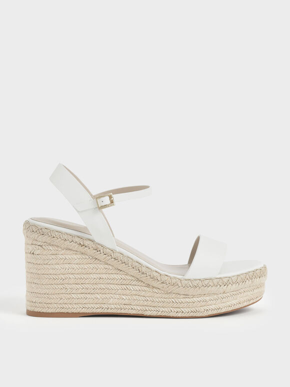 Sandal Ankle Strap Espadrille Wedges, White, hi-res