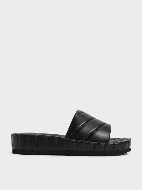 Sandal Puffy Flatform Slide, Black, hi-res