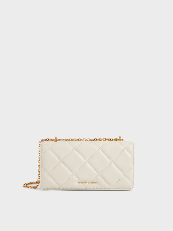 Dompet Panjang Chain Handle Quilted, Cream, hi-res