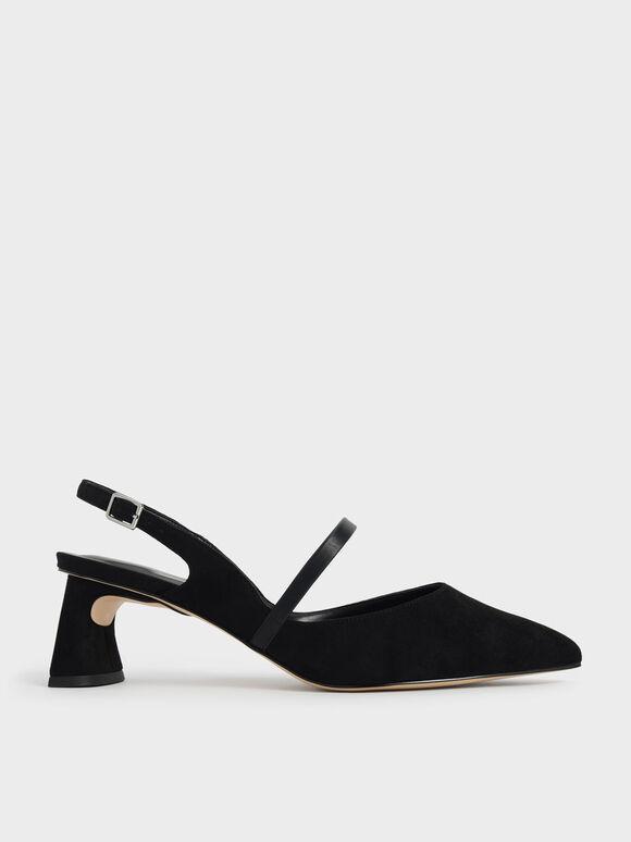 Sepatu Mary Janes Sculptural Heel Slingback, Black Textured, hi-res