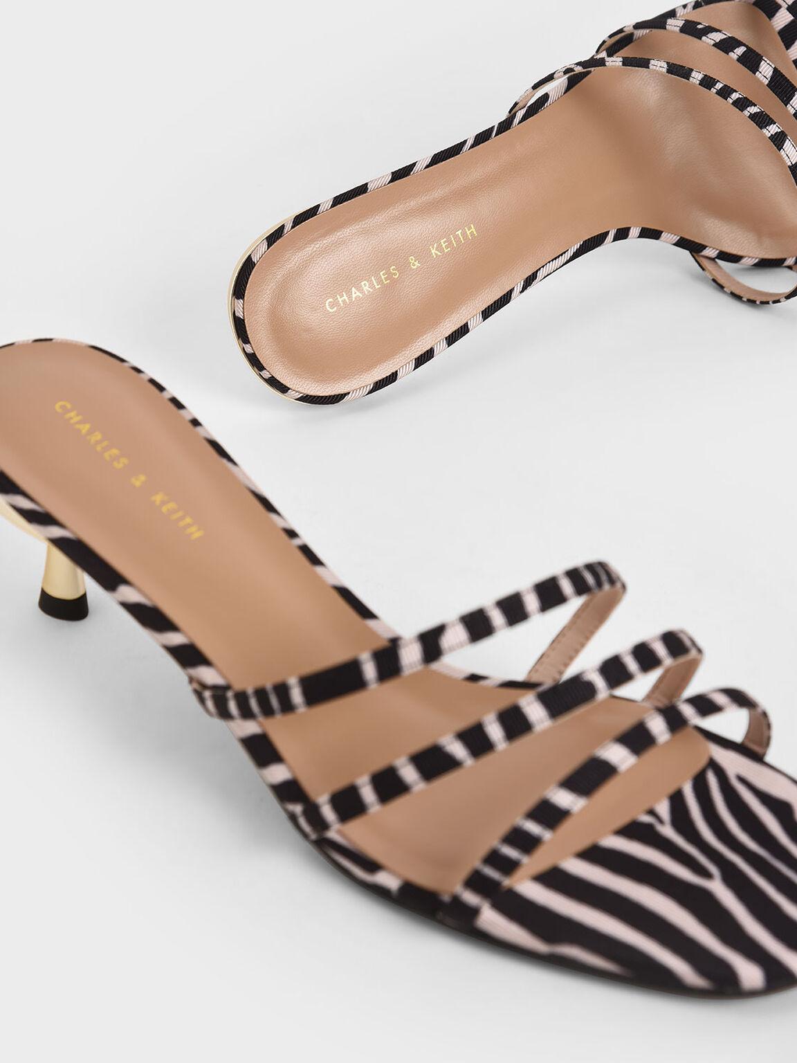 Zebra Print Strappy Mules, Animal Print Natural, hi-res
