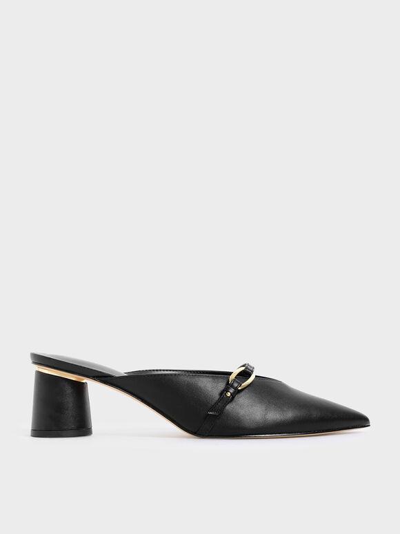 Sepatu Metallic Accent Pointed Mules, Black, hi-res