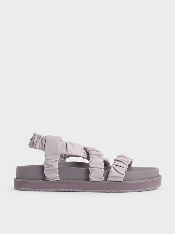 Sandal Canvas Ruched Crossover, Lilac, hi-res