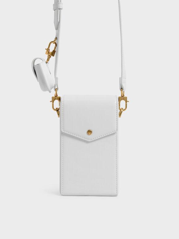 Elongated Crossbody Bag, White, hi-res