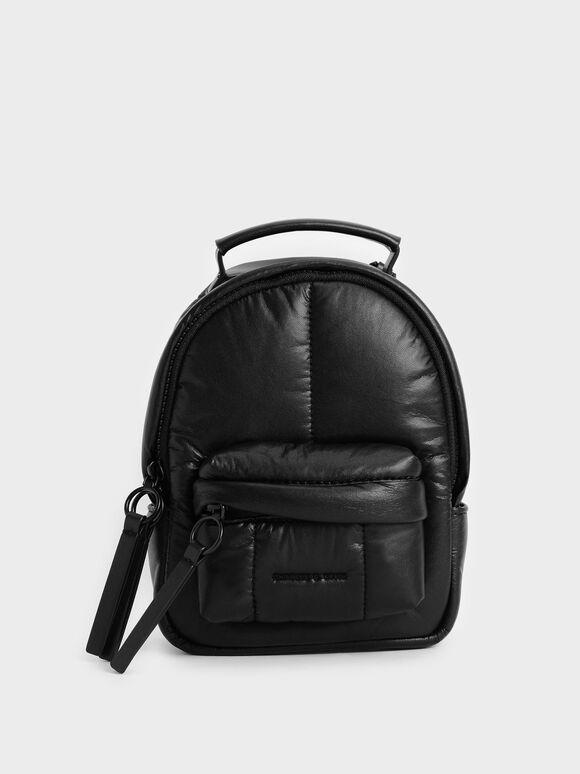 Tas Backpack Puffy, Matte Black, hi-res