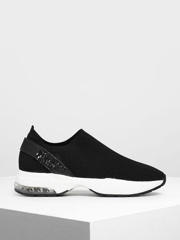 Sepatu Slip-On Kaus Kaki Rajutan, Black, hi-res
