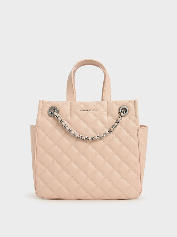 Quilted Double Handle Tote Bag, Nude, hi-res