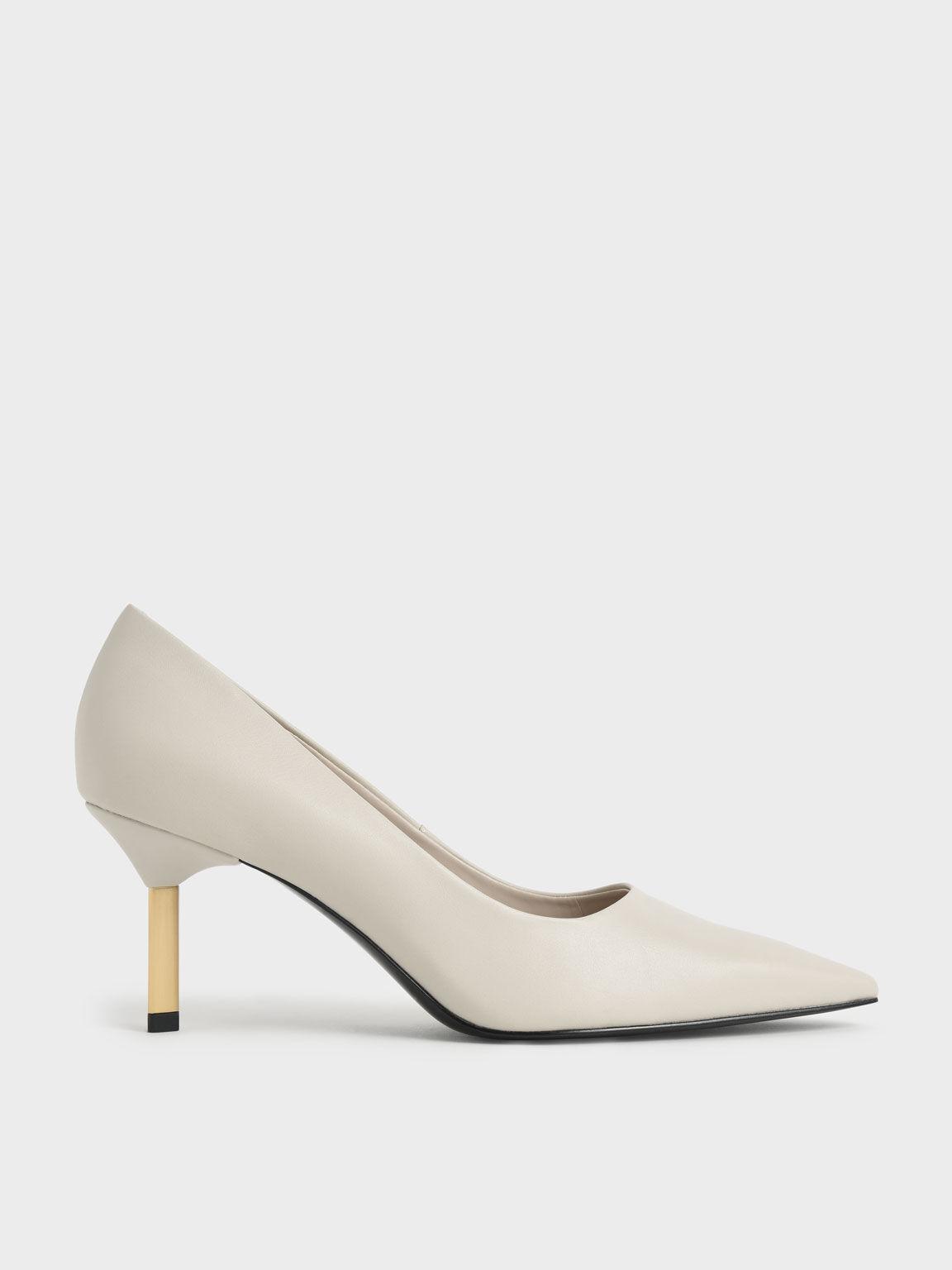 Sepatu Metallic Stiletto Heel Pumps, Chalk, hi-res