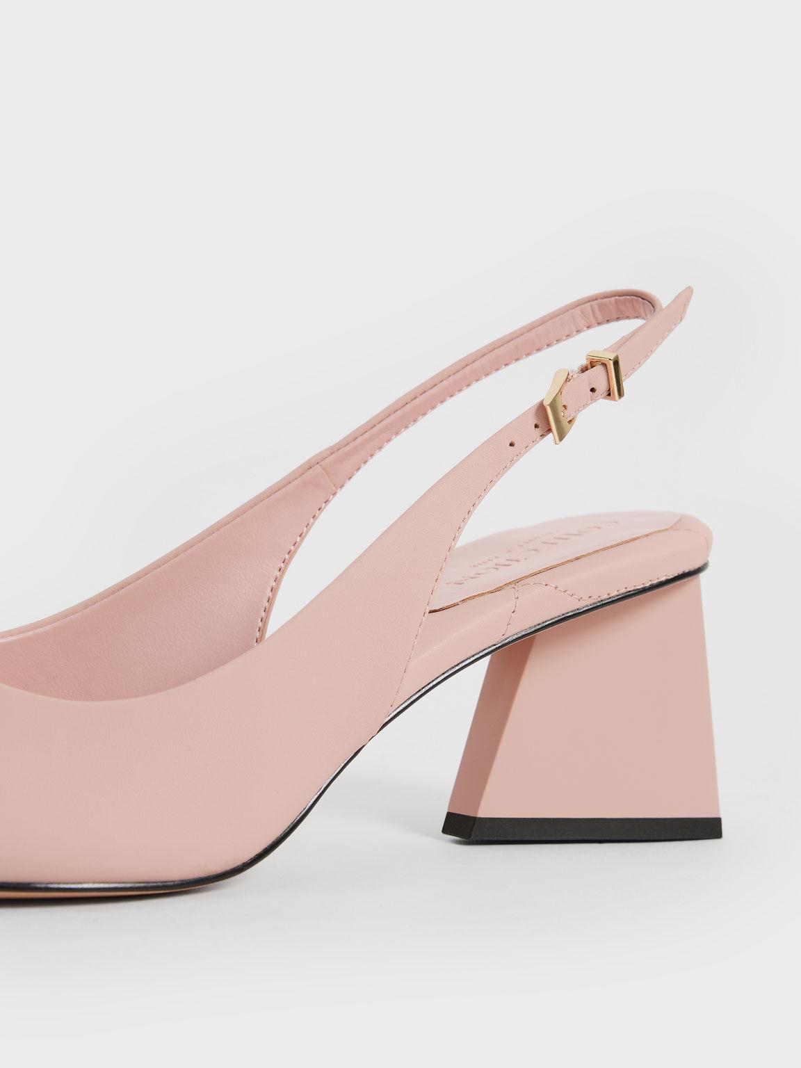 Sepatu Leather Pointed Toe Slingback Pumps, Pink, hi-res