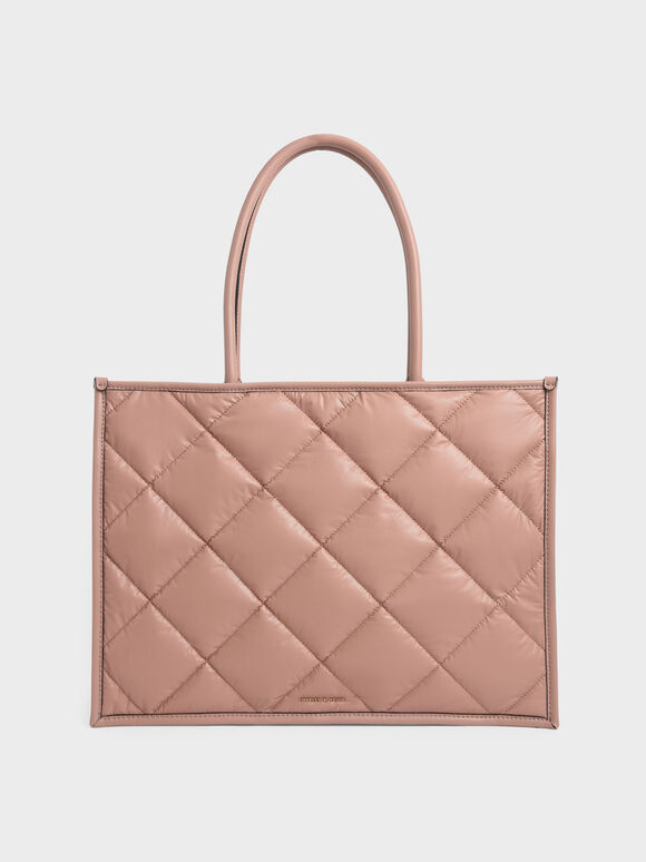 Tas Tote Double Handle Quilted, Blush, hi-res