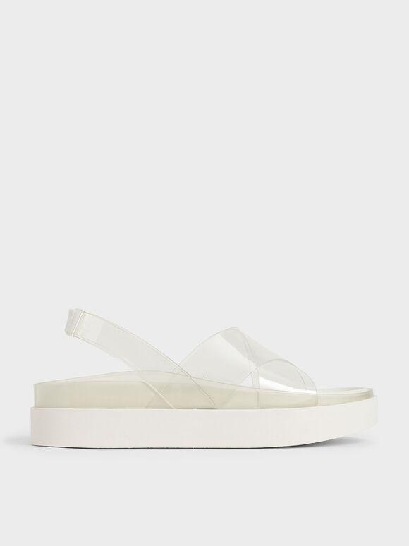 Sandal Flatform Efek Tembus Pandang, White, hi-res