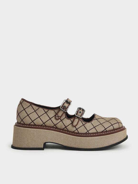 Sepatu Frankie Grid-Print Platform Mary Janes?, Brown, hi-res