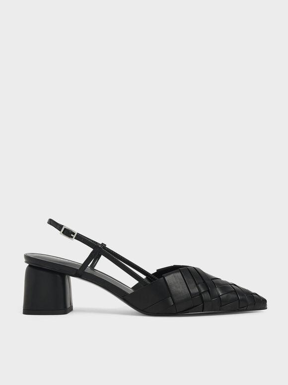 Sepatu Woven Slingback Pumps, Black, hi-res