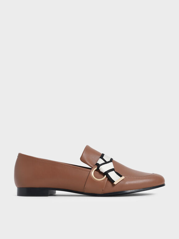 Sepatu Fabric Knot Penny Loafers, Brown, hi-res