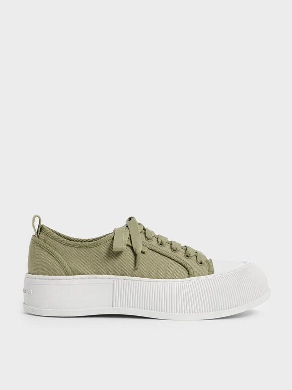 Sepatu Sneakers Organic Cotton Low-Top, Green, hi-res