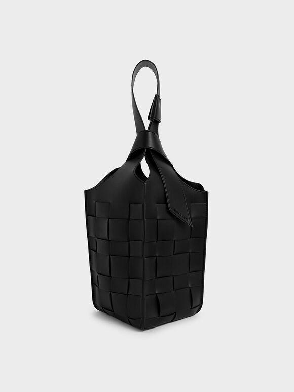 Tas Bucket Woven Single Handle, Black, hi-res