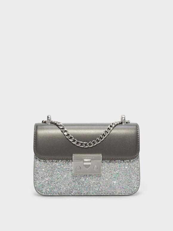 Glitter Metallic Push-Lock Handbag, Pewter, hi-res