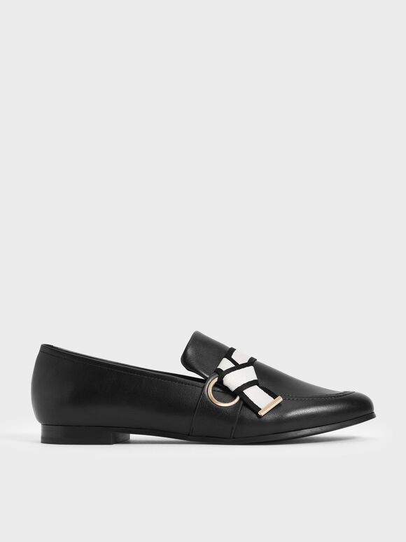 Sepatu Fabric Knot Penny Loafers, Black, hi-res