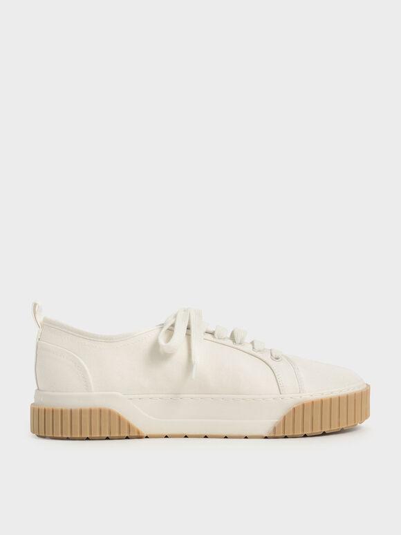 Sepatu Sneakers Recycled Cotton Low-Top, Cream, hi-res