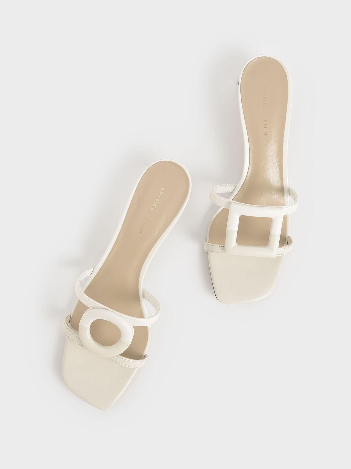 Sandal Mismatched Blade Heel, Chalk, hi-res