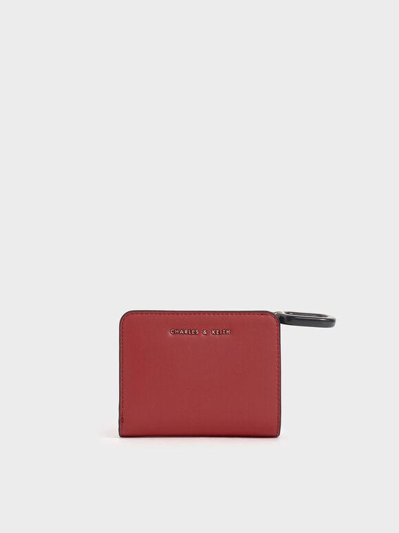 Dompet Kecil Ritsleting Atas Mini, Crimson, hi-res
