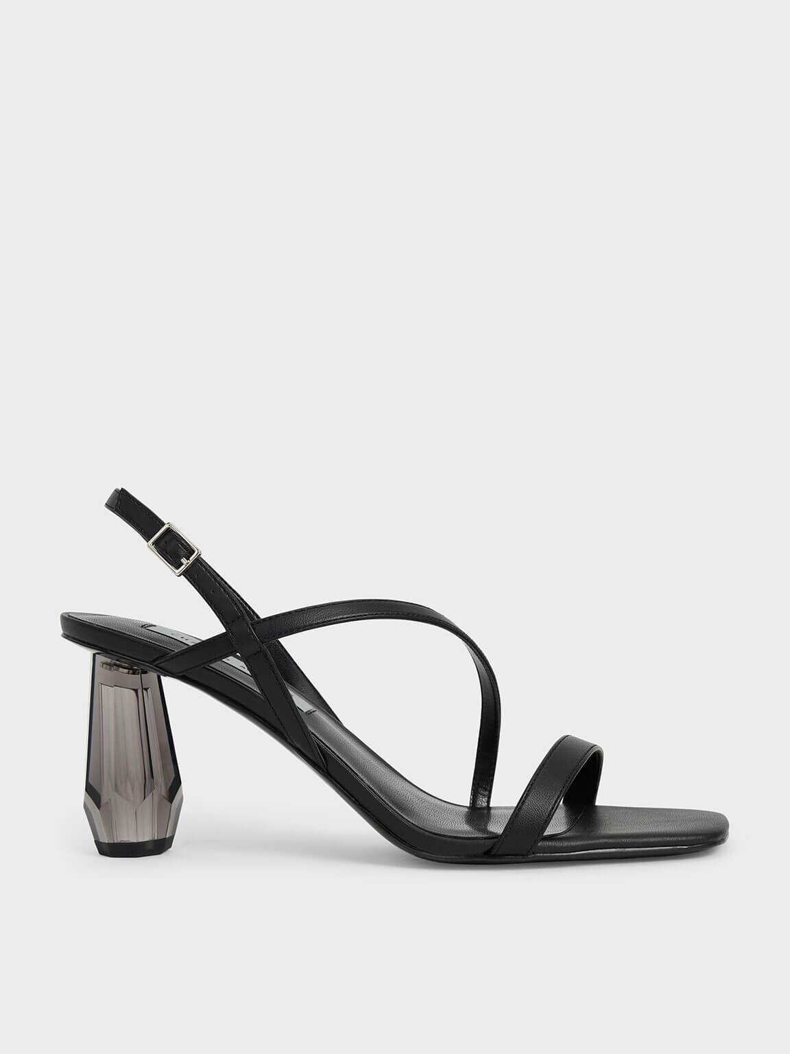 Sandal See-Through Sculptural Heel, Black, hi-res