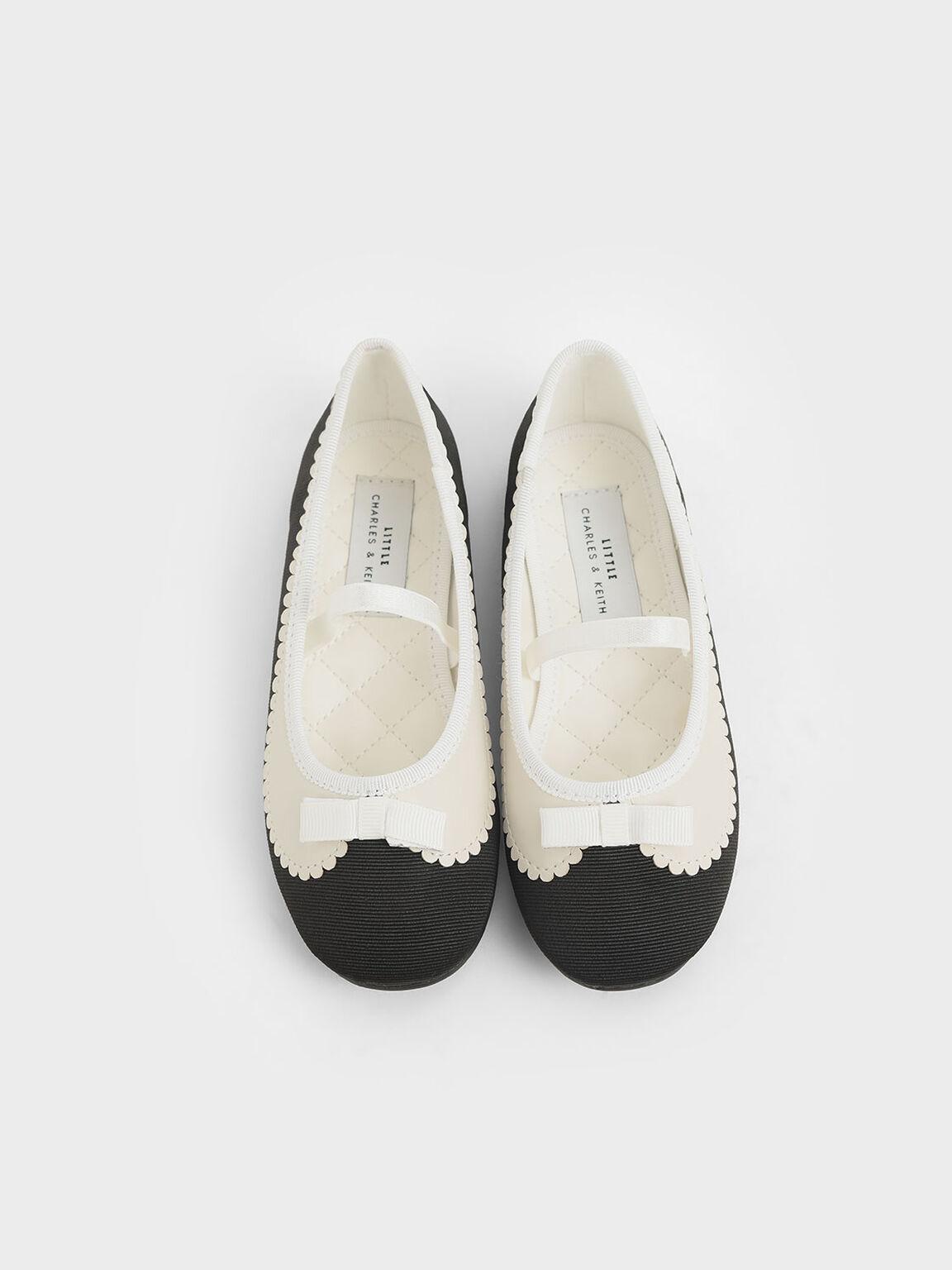 Sepatu Flat Balerina Hiasan Kerang Grosgrain Anak Perempuan, Black, hi-res