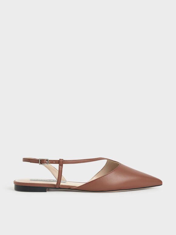 Pointed Toe Asymmetric Strap Ballerina Flats, Brown, hi-res