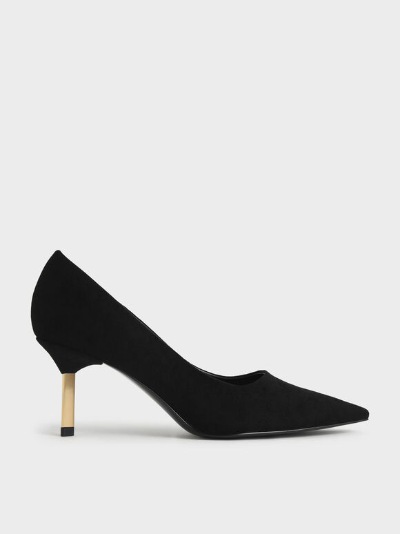 Metallic Stiletto Heel Textured Pumps, Black Textured, hi-res