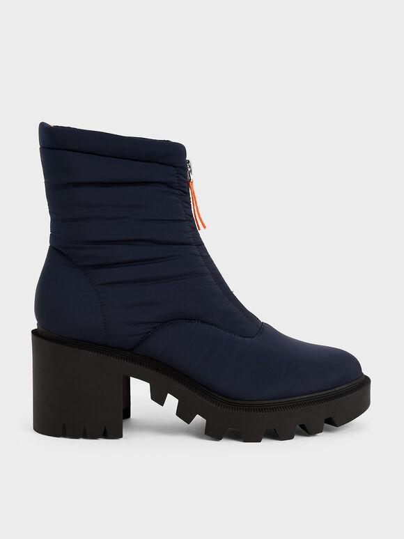 Nylon Front Zip Ankle Boots, Dark Blue, hi-res