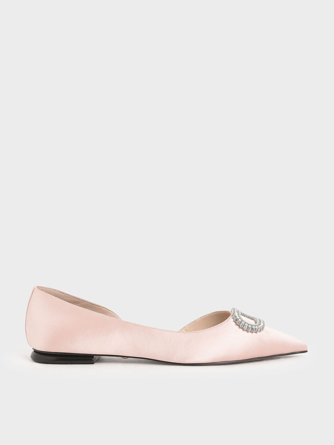 Wedding Collection: Embellished Satin Ballerina Flats, Pink, hi-res