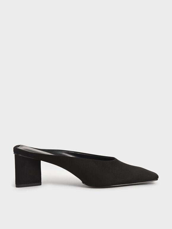 Textured Square Toe Mules, Black, hi-res