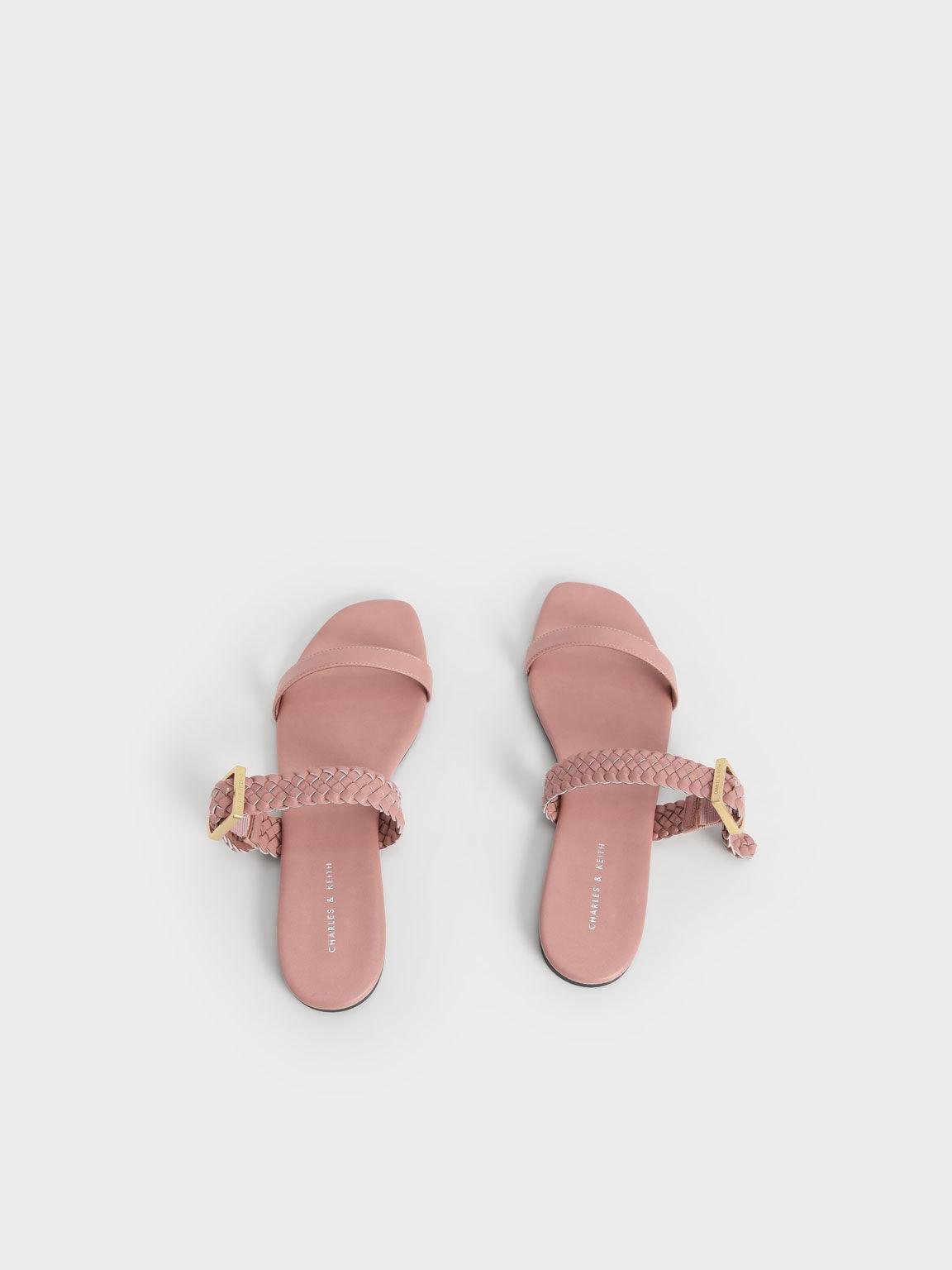 Sandal Woven Strap Slide, Pink, hi-res