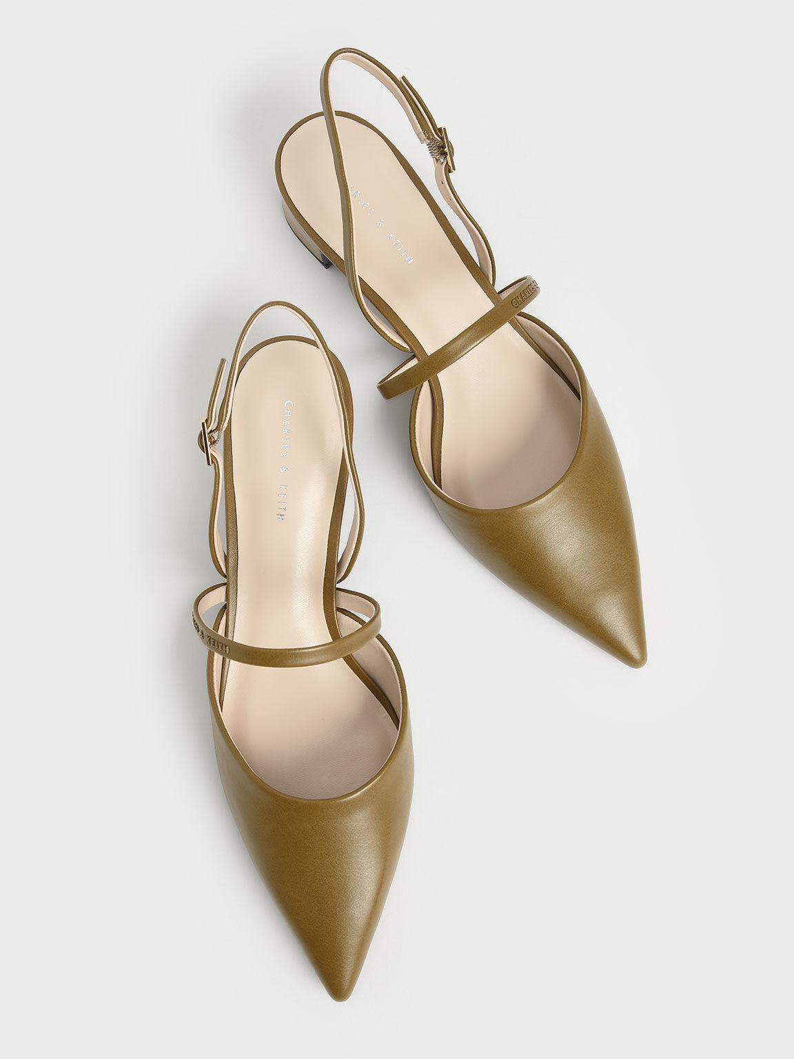 Sepatu Slingback Heeled Mary Janes, Olive, hi-res