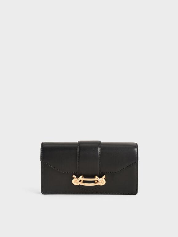 Dompet Panjang Mini Gesper Metalik, Black, hi-res