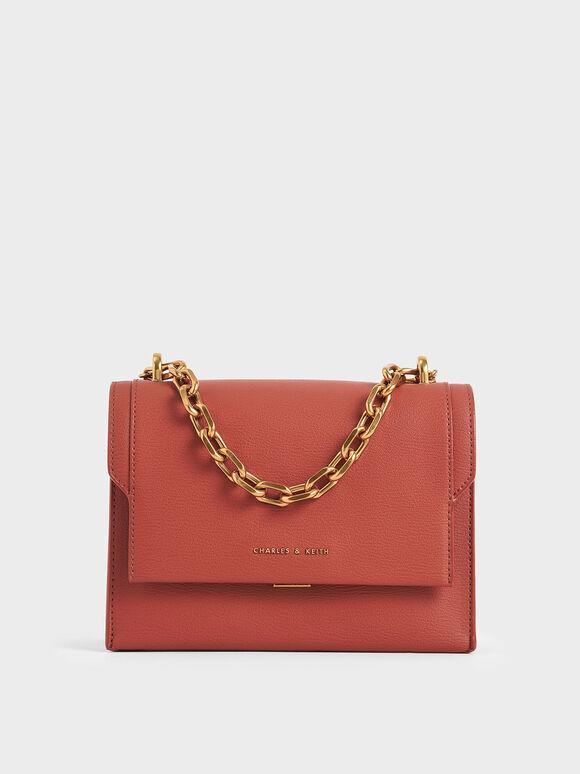 Chain Handle Evening Bag, Clay, hi-res