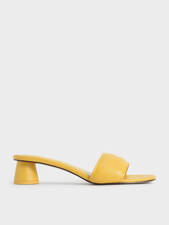 Sandal Puffy Cylindrical Heel Mules, Mustard, hi-res