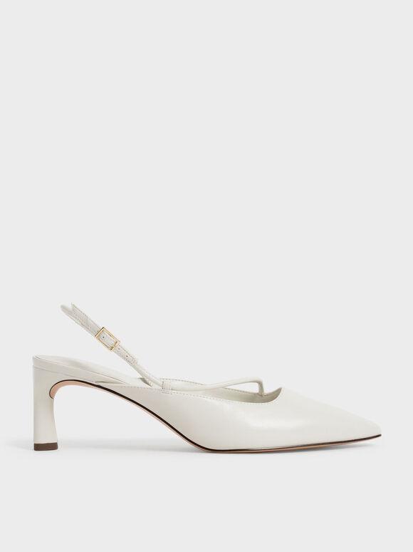 Sepatu Asymmetric Slingback Pumps, Chalk, hi-res