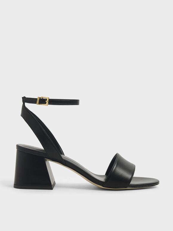 Sandal Ankle Strap Heeled, Black, hi-res