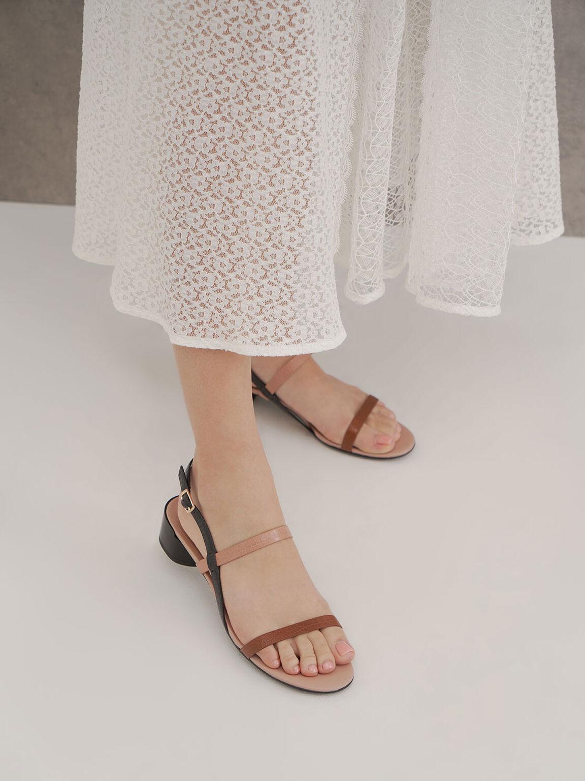 Sandal Hak Bertali Croc-Effect, Multi, hi-res
