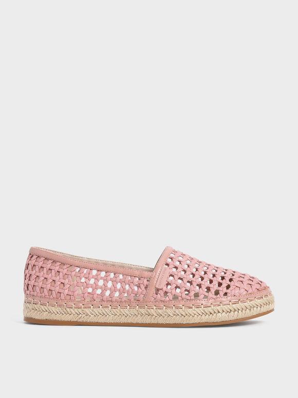 Sepatu Woven Espadrilles, Pink, hi-res