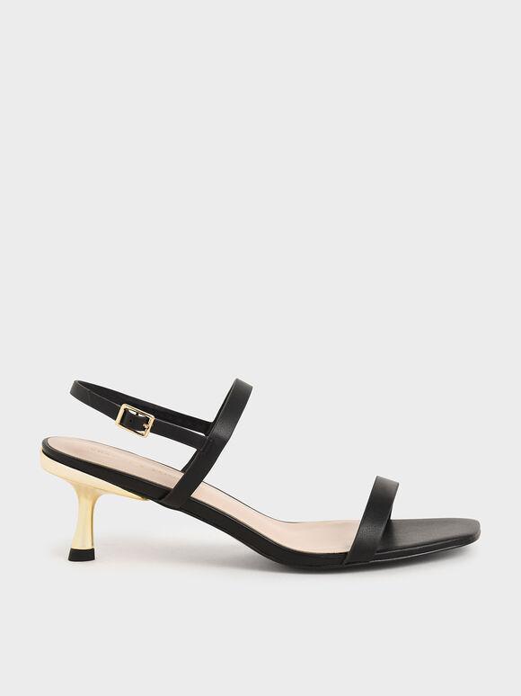 Sandal Metallic Ankle Strap, Black, hi-res